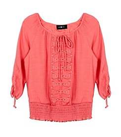 A. Byer Girls' 7-16 Quarter Sleeve Lace Front Top