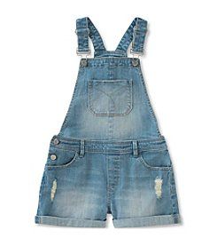 Calvin Klein Jeans Girls' 2T-6X Boyfriend Cut Off Shortalls