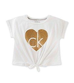 Calvin Klein Jeans Girls' 2T-6X Glitter Tie Front Heart Logo Tee