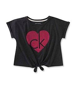 Calvin Klein Jeans Girls' 7-16 Glitter Logo Tee