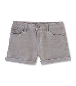 Calvin Klein Jeans Girls' 7-16 Shimmer Roll-Up Denim Shorts