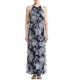 Connected® Periwinkle Floral Print Chain Neck Maxi Dress