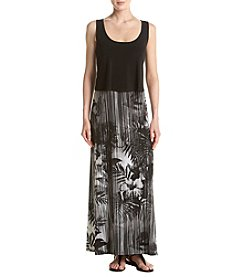 Connected® Black & Tropical Print Maxi Dress