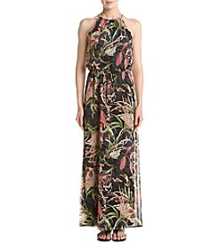 Connected® Chain Neck Tropical Maxi Dress