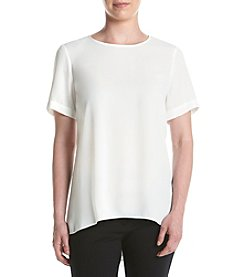 Vince Camuto® Ivory Short Sleeve High-Low Hem Blouse