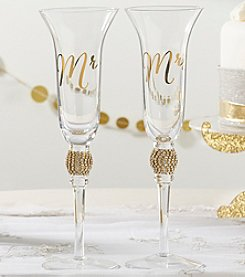 Kate Aspen Set of 2 Gold Glitter Rhinestone Mr. & Mrs. Toasting Flutes