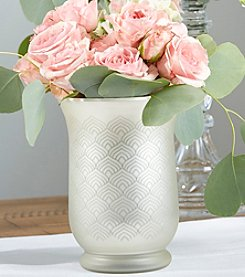 Kate Aspen Light Champagne Frosted and Etched Pattern Glass Vase