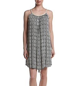 Nina Leonard Print Gauze Trapeze Dress