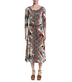 Nina Leonard Jewel Neck Dress