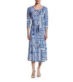 Nina Leonard Jewel Neck Dress