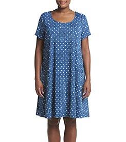 Nina Leonard Plus Size Polka Dot Trapeze Dress