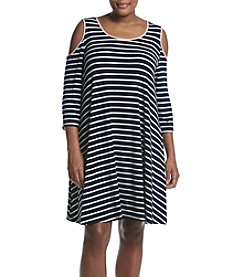 Nina Leonard Plus Size Cold Shoulder Trapeze Dress