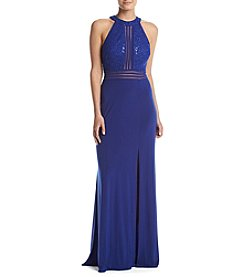 NW Collections Halter Sequin Top Gown