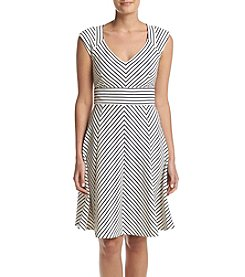 Adrianna Papell® Cap Sleeve Striped Dress