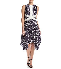 Ivanka Trump® Lace Trim Handkerchief Hem Dress