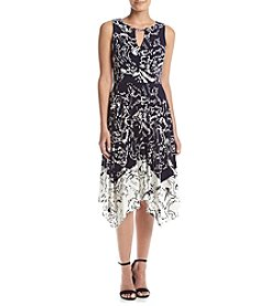 Ivanka Trump® Floral Print Handkerchief Hem Dress