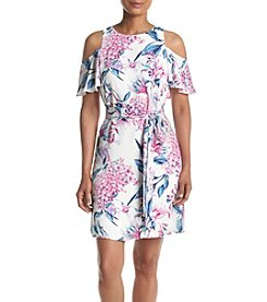 Ivanka Trump® Printed Cold Shoulder Tie Waist Dress