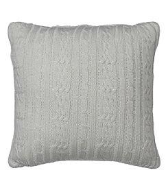 IZOD Cable Knit Silver Birch Square Decorative Pillow