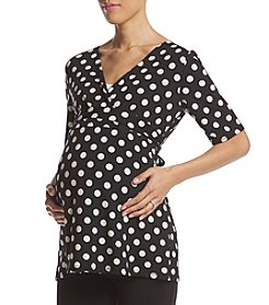 Three Seasons Maternity™ Elbow Sleeve Surplice Dot Top