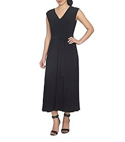 Chaus V-Neck Belted Maxi Dress