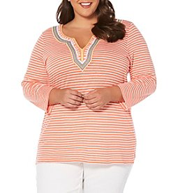 Rafaella® Plus Size Striped Embellished Neck Top