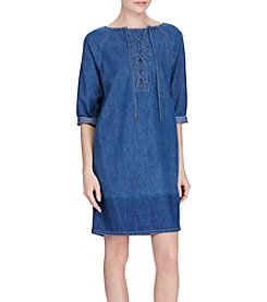 Lauren Ralph Lauren® Lace-Up Denim Shift Dress