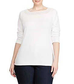 Lauren Ralph Lauren® Plus Size Crochet Trim Knit Top
