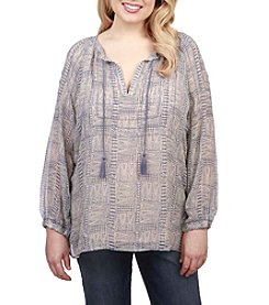 Lucky Brand® Plus Size Maze Peasant Top