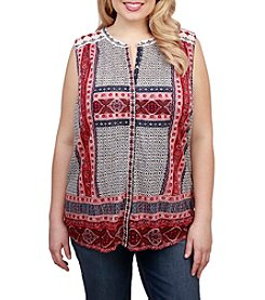 Lucky Brand® Plus Size Border Print Button Up Top