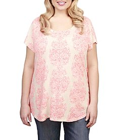 Lucky Brand® Plus Size Neon Woodblock Tee