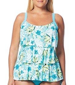 Beach House® Plus Size Jane Ruffle Tankini Top