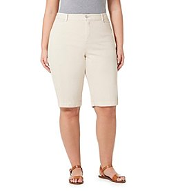 Bandolino® Plus Size Ivette Twill Bermuda Shorts