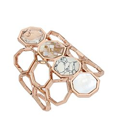 Kenneth Cole® Mixed Semiprecious Howlite Stone Geometric Cuff Bracelet