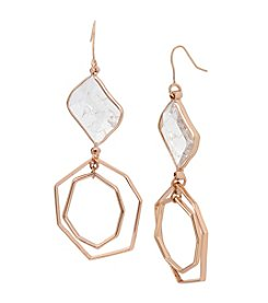 Kenneth Cole Crackled Stone Geometric Double Drop Earrings