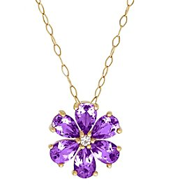 10K Yellow Gold Amethyst And Topaz Flower Pendant Necklace