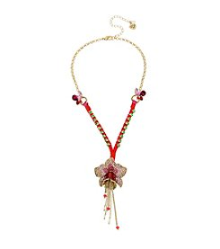 Betsey Johnson® Tropical Pave Flower Y-Shaped Necklace