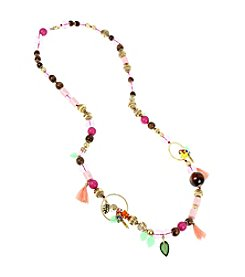 Betsey Johnson® Mixed Beaded Long Station Necklace