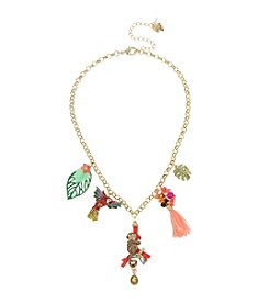 Betsey Johnson® Tropical Pave Monkey & Parrot Mixed Charm Frontal Necklace