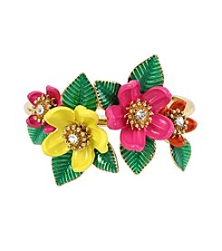 Betsey Johnson® Tropical Mixed Flower Hinged Bangle Bracelet