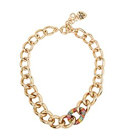 Betsey Johnson® Rainbow Pave Chain Link Necklace