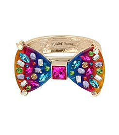 Betsey Johnson® Rainbow Bow Hinged Bangle Bracelet