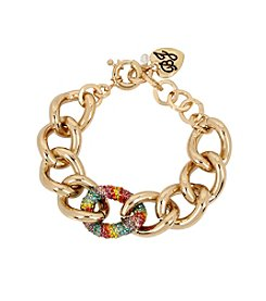 Betsey Johnson® Rainbow Pave Chain Link Bracelet