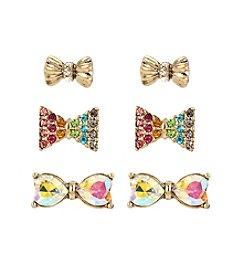 Betsey Johnson® Pave Rainbow Bow Stud Earrings Set