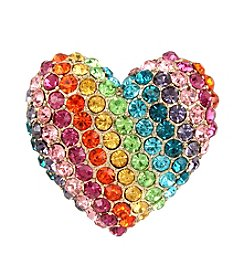 Betsey Johnson® Pave Rainbow Heart Stretch Ring