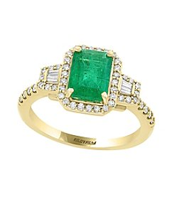 Effy® 14K Yellow Gold .35 ct. t.w. Diamond And Emerald Ring
