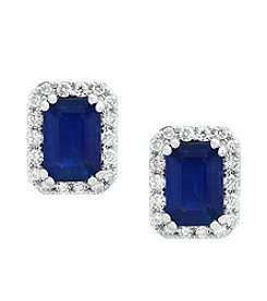 Effy® Sapphire And 0.19 ct. t.w. Diamond Stud Earrings
