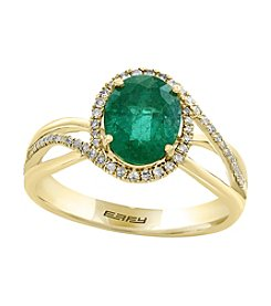 Effy® 14K Yellow Gold .22 ct. t.w. Diamond And Emerald Ring
