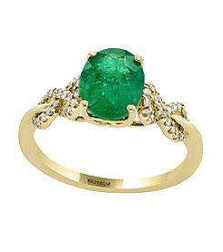 Effy® 14K Yellow Gold Emerald And .16 ct. t.w. Diamond Ring