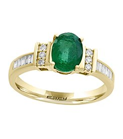 Effy® 14K Yellow Gold .20 ct. t.w. Diamond And Emerald Ring