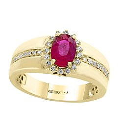 Effy® 14K Yellow Gold Ruby And .20 ct. t.w. Diamond Ring